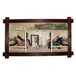 Poland has a long history of craftsmen working with wood in southern Poland. Their workshops produce beautiful hand made boxes, plates and carvings.  This shadow box is a look inside a traditional  Polish horse barn.  Note the nice attention to detail.