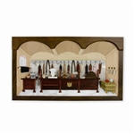 Poland has a long history of craftsmen working with wood in southern Poland. Their workshops produce beautiful hand made boxes, plates and carvings. This shadow box is a look inside a traditional Polish American butcher shop. Note the nice attention to de