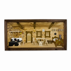 Poland has a long history of craftsmen working with wood in southern Poland. Their workshops produce beautiful hand made boxes, plates and carvings. This shadow box is a look inside a traditional Polish farmer's cottage. Note the nice attention to detail.