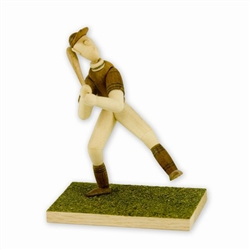 These hand made artistic wooden figurines were made in Warsaw in the 1970's and 80's by two Polish woodworkers.  Subjects included village folk, hunters, fishermen, and sportsmen in action.  These delightful works are excellent examples of a Polish folk a