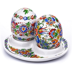 Opole Hand Painted Porcelain Salt And Pepper Set With Dish