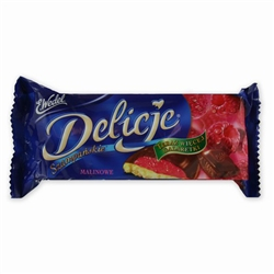 Delicje is the Polish word for delicious and they are certainly that!  This delicious treat is a soft biscuit topped with raspberry jelly and dipped in chocolate - Superb!