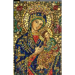 This beautiful icon is entirely made by hand. The mosaic is applied to a wooden block and sealed with a clear finish.  Each piece takes between 3-6 days to make and is signed by the artist.