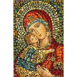 This beautiful icon is entirely made by hand. The mosaic is applied to a wooden block and sealed with a clear finish.  Each piece takes between 3-6 days to make and is signed and dated by the artist.