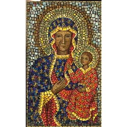This beautiful icon is entirely made by hand. The mosaic is applied to a wooden block and sealed with a clear finish. Each piece takes between 3-6 days to make and is signed by the artist
