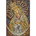 Matka Boska Ostrobramska - Our Lady of Ostrobramska This beautiful icon is entirely made by hand. The mosaic is applied to a wooden block and sealed with a clear finish.  Each piece takes between 3-6 days to make and is signed by the artist.