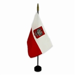"8"" x 12""  Polish Flag With Eagle On A Wooden Stick - Stand Sold Separately"