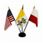 U.S - Vatican - Poland Flag Desk Set