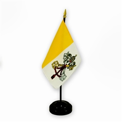 The Vatican flag is also known as the Papal flag.  Includes a one hole plastic stand