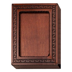 An absolutely beautiful box!  Walnut stained box with detailed picture frame on the top. Frame has a opening on one side to slide in a photo, but this box is just as beautiful as is. Box also opens to a red felt lined bottom inside to hold you keepsakes.