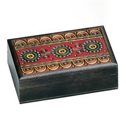 Wooden Box with Multicolored Motif