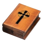 Hand carved and stained. Book shaped featuring front and back cover, binding and carved pages.