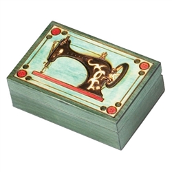 Sewing Machine Box. An old fashioned sewing machine has been burned into the lid of this box, great for storing thread, needles, bobbins or other sewing accessories!