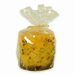"This beautiful amber colored candle has real raw amber pieces imbedded inside the wall of the candle and an amber ""tree"" of polished stones decorating the outside. Made from the highest quality paraffin with an addition of bees wax guarantee a clean and l"