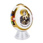 Hand Painted In Poland These beautiful wooden eggs are hand painted on one side and feature an applique of Our Lady Of Czestochowa on the other side.