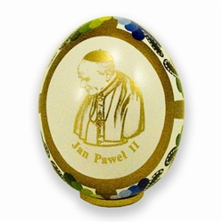 Hand Painted In Poland These beautiful wooden eggs are hand painted on one side and feature an applique of Pope John Paul II on the other side.