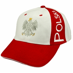 "Display the Polish colors of red and white with this handsome looking cap with detailed embroidery work. The front of the cap features a silver Polish Eagle with gold crown and talons. On the left side are the words ""Polska"" (Poland). Features an adjustab"
