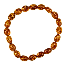 Beautiful oval amber beads on elastic band.
