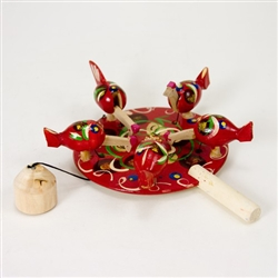 Wooden toy from Russia that will bring smiles to all who try it!  These pecking hens are a perfect example of an old fashioned action toy. Hand made and painted in the villages of Eastern Europe. traditionally made by parents and grandparents for their ch
