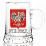Large size mug with Red Polish Eagle design.  Gold rim.  This mug features a beautiful hand painted Polish eagle. Made in Poland by skilled craftsmen.  Hand wash only.
