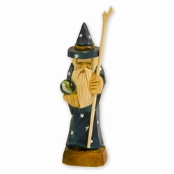 Hand carved in the mountain region of southern Poland this a Polish Wizard with his crystal ball on a journey through the highlands.