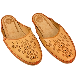 Polish mountain slippers are hand made from leather with open backs, flat sole and heel. Highly decorated and burned with mountaineer symbols these comfortable slippers are perfect for lounging at home in style. We have two different styles here.