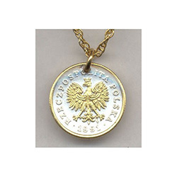 "These real coins from Poland are first layered in pure ""Bright Silver"". The figures of each are highlighted and brought to life with rich pure 24K Gold (gold work is done by hand). This breathtaking and exclusive work turns these coins into stunning and t"
