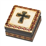 Radiating Cross Wooden Box, Brass inlaid Cross with radiating rays accented by the burned design around the entire top and 4 sides!  Great Communion or Confirmation Gift!