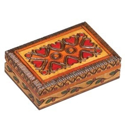 Heart Box with rich earth tones and brass inlays wrap around top and 3 sides.