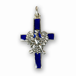 Polish Eagle Cross - Blue Enamel - Made in the workshop of Warsaw's finest engraver and medal maker. This is a hand made enameled metal cross with the Polish eagle superimposed on top. These are the two symbols of Poland's Catholic heritage.