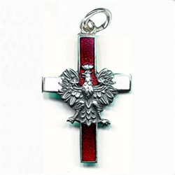 Made in the workshop of Warsaw's finest engraver and medal maker. This is a hand made enameled metal cross with the Polish eagle superimposed on top. These are the two symbols of Poland's Catholic heritage. Red and white are the colors of the Polish flag