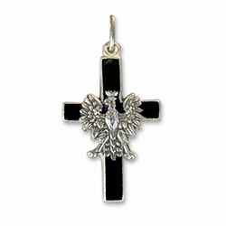 Made in the workshop of Warsaw's finest engraver and medal maker. This is a hand made enameled metal cross with the Polish eagle superimposed on top. These are the two symbols of Poland's Catholic heritage. Black is the symbol of the temporal nature of