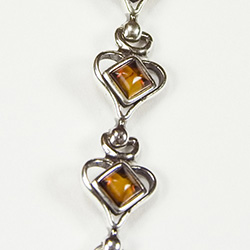 Heart Shaped bracelet with square Amber stones