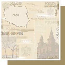 Polish Scrapbook Paper - Map Collage Scrapbook Layout Pack