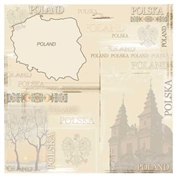 Polish Scrapbook Paper - Map Collage Scrapbook