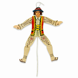 This hand painted wooden Goral's arms and legs move up and down as you pull and release the string. A very traditional piece of folk art from Poland that can be hung as a folk decoration.  Not for children under 5 due to small parts.