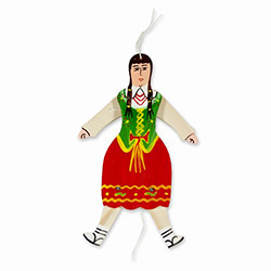 This hand painted wooden Goralalka's arms and legs move up and down as you pull and release the string. A very traditional piece of folk art from Poland that can be hung as a folk decoration.  Not for children under 5 due to small parts.