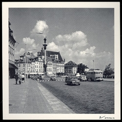 Zamkowy Square 1965 Warsaw.  Notice what's missing from the right side of this photograph?   The Royal Castle!  Completely destroyed in 1944 it was not rebuilt until 1974.  Historical Black and White Photo Postcard