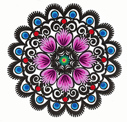 Our Polish paper cuts are made by folk artists in the Lowicz area of central Poland. Each paper cut-out is hand made using sheep sheers to form the designs. The designs from the Lowicz area are with rooster, flower or geometric motifs.