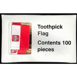 "Polish Toothpick Flag offered in a box of (100). Paper Flag, Stands 2.5"" (6cm) tall.  Not recommended for children under 5 years of age."