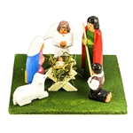 Beautiful hand carved and painted wooden miniature nativity by Szopki maker Marian Wiecek.