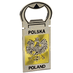 High quality bottle opener with Polish Eagle and gold rays. The back of the opener has a large magnet so it can be displayed.