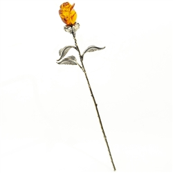 Hand Carved Amber And Silver Rose - Single Flower - Small