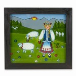 Painting on glass is a popular Polish form of folk art by which the artist paints a picture on the reverse side of a glass surface. 