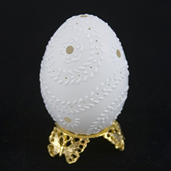 These beautifully designed and executed eggs are hand made by our Polish folk artist from Torun, Poland.  The technique used is called wax embossing which is similar to the batik method of decorating pisanki using several layers of wax.