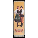 Bookmark - Lowicz Folk Dancer Bookmark on Canvas is painted on canvas with the edges tastefully fringed.