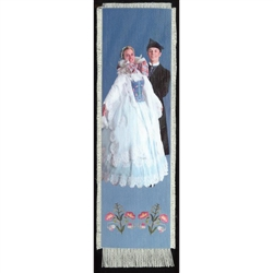 Bookmark - Zywiec Folk Dancer Bookmark on Canvas is painted on canvas with the edges tastefully fringed.