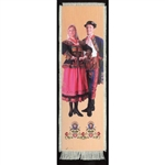 Bookmark - Nowy Sacz Folk Dancer Bookmark on Canvas is painted on canvas with the edges tastefully fringed.