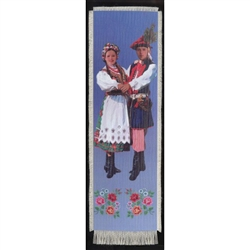Bookmark - Krakow Folk Dancer Bookmark on Canvas is painted on canvas with the edges tastefully fringed.