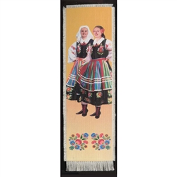 Bookmark - Lowicz Girls Folk Dancer Bookmark on Canvas is painted on canvas with the edges tastefully fringed.
